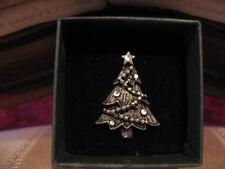 Pewter w/Diamond Cut & Garland Decorated Christmas Tree Jewelry Pin, Brooch NIB