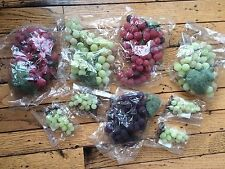 Lot Artificial Decorative Fake Fruit 9 Grape Clusters Rubber Plastic New bx32