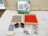 """HUAYUTOY 7 IN 1 GAME SET,SOLID WOOD,7"""" X 7"""" BOARD,CHESS,BACKGAMMON,CRIB,CARDS,"""