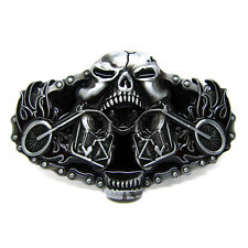 Men Vintage Silver Skull Skeleton Motorcycle Belt Buckle Cowboy Cool Punk Biker