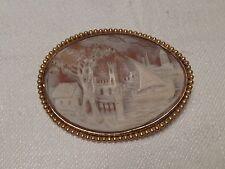 A SAISIR ! BROCHE CAMEE COQUILLAGE AVEC PAYSAGE MARIN 1900