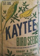 Authentic Vintage Kaytee 50# Feed Sack ~ Cage & Wild Bird Seed~ Parakeet, Canary