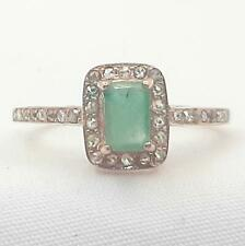 Genuine 1.30ctw Columbian Emerald & H-SI Diamond 14K Rose Gold 925 Silver Ring
