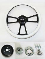 """14"""" White Grip Black Spoke Steering Wheel Shallow Dish for GM Column SS Cap"""