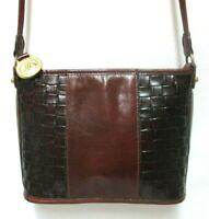 Brahmin Vintage Leather crossbody shoulder bag purse brown Back Pocket zip top