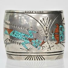 VINTAGE Navajo Sterling Turquoise Coral Inlay WIDE Cuff Dancing Man Bracelet Sig