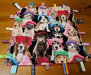 Taggie blanket Dogs with  Security Blanket Toy Comforter Dummy Clip Holder