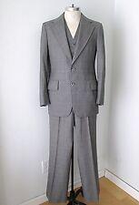 Vgc Vtg 70s Gray Ice Blue Check Plaid 3-Pc Pants Vest Blazer Disco Pimp Suit 38