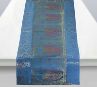 Indian Vintage Silk Bland Table Runner Elephant Brocade Table Cloth Cover Mat