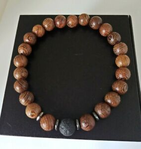 8mm Wooden With Natural Lava Stone Beads Stretchy Men's Bracelet UK Seller