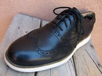 COLE HAAN Mens Dress Shoes Black Leather Casual Lace Up Wingtip Oxford Size 9.5M