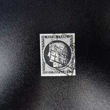 TIMBRE TYPE CÉRÈS N°3a NOIR / BLANC OBLITÉRATION GRILLE DE 1849 COTE 70€