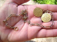 ANTIQUE VICTORIAN VINTAGE GOLD FILLED POCKET WATCH CHAIN W COIN TOKEN FOBS
