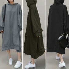 ZANZEA Women Hooded Sweatshirt Dress Fleece Kaftan Abaya Long Maxi Jumper Dress