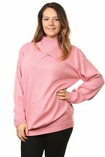 Ladies Knitted Polo Neck Full Sleeve Pullover Jumpers Tops Plus Size16 to 26 UK Size 20/22 Pink 100 Acrylic