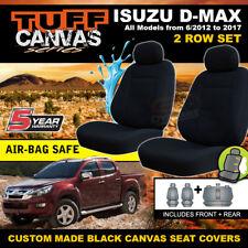 TUFF CANVAS BLACK Isuzu D-MAX TF CREW CAB Seat Covers 2ROWS 06/2012-18 DMAX