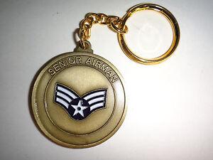 Porte-Clé États-Unis Air Force Senior Airman 2-Side Challenge Pièce Neuf, Neuf