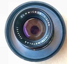 Leica Summicron-M 50mm f/2 Lens Black with lens hood  v. 4. 1970 original owner