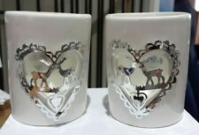 Christmas reindeer heart ceramic tea light holder x 2 -NEW