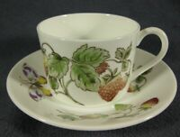Coalport Strawberry Flat Cup & Saucer Set (Smooth) Bone China England Butterfly