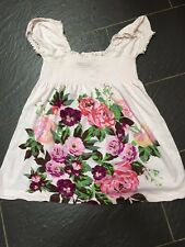 H&M THE GARDEN COLLECTION CREAM MULTICOLOURED FLORAL ELASTICATED BOOB TUBE TOP M