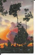 florida silhouette postcard 1940s era