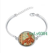 Giraffes glass cabochon Tibet silver bangle bracelets wholesale