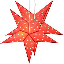"""Twinpack red Christmas Paper Star 5 Leaf """"Star Cutting"""" 24 inches with 10 LED La"""