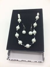 Pearl Necklace/Earring/Bracelet Set With Black Bead Detail With Gift Box