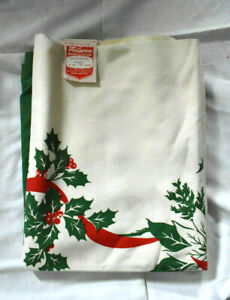 """Vintage Poinsettia,  Christmas Bells, Flowers, Berries Tablecloth, 60"""" x 90"""""""