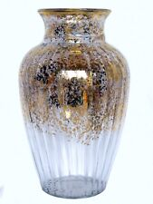 Large Ribbed Gold Flecked Flaked Spattered Hand Painted Italian Art Glass Vase