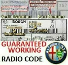 Alfa Romeo +Blaupunkt+Bosch+ Radio Code Unlock – Perfect Working Codes