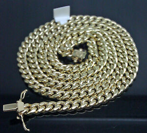 "18"" 10k yellow Gold Chain Real Gold Miami Cuban Link Box Lock Choker Men Womens"