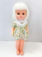 "13"" Vintage 1968 Uneeda Plastic Character Girl Doll Blonde/blue C6"