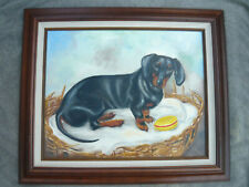 Signed Oil Black & Tan Dachshund Guarding Hamburger Toy in Chewed Wicker Bed