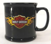Harley Davidson 16 oz Black Coffee Mug with Embossed Flaming Logo Gift
