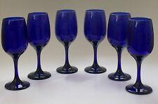 Set of 6 Vintage Libbey Cobalt Blue Glass Ware Stemmed Water Wine Goblet, EUC