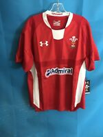 Under Armour Men's Jersey Size Large  Welsh WRU UA Rugby Admiral Red Braint