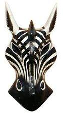 Schöne 20 cm Zebra Holz Maske Afrika Wandmaske Handarbeit Bali Maske75
