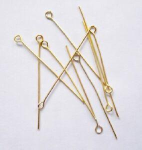 LOT de 150 TIGES CLOUS à OEIL 45 x 0,7mm DORE 4,5cm boucles d'oreilles perles