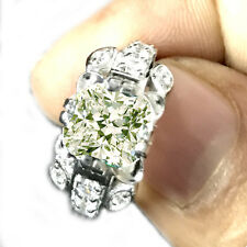 2.61ct vvs1.OFF WHITE YELLOW CUSHION REAL MOISANITE DIAMOND 925 SILVER RING