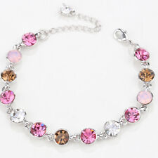 10pcs Tennis Bracelet Pink Sapphire Crystal White Gold Plated Adjustable Chain