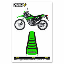 2008-2014 KAWASAKI KLX 250 SF Black/Green/Black RIBBED SEAT COVER BY Enjoy MFG