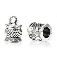 10 pcs Necklace Bracelets End Tips Antique Silver Striped Fits 6.5mm Cord