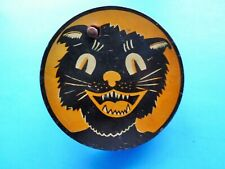 Rare Antique Halloween Black Cat All Original Wood Handle & Tin Litho Noisemake