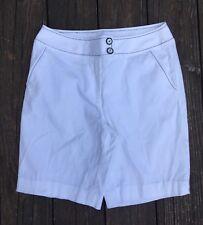 Abbie Mags Capri Crop Pant Shorts Size 4 White Black Stitching Dressy Casual