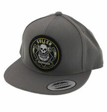 Sullen Never Defeated Gray Punk Rock Tattoo Skull Brush Paint Snapback Hat Cap