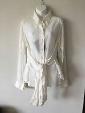 Guy Laroche Collection Cotton Long Sleeve Belted Shirt Size 46 France Current