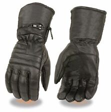 Motorcycle riding Long Waterproof Guantlet leather gel palm gloves raincover Blk