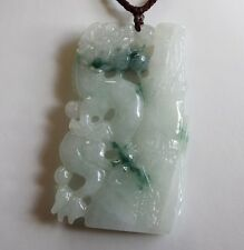 "Certified Natural ""A"" Perfect Chinese Jadeite JADE Dragon & Bamboo Pendant #P254"